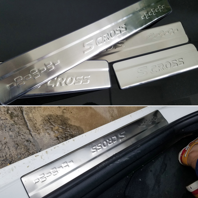 Stainless steel scuff plate door sill car stying car accessories for 2013 2014 Suzuki S CROSS S-CROSSS