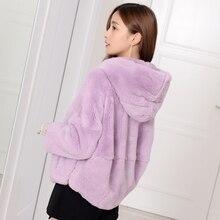 Natural Rex Rabbit Fur Coats Women Oversize Hooded Winter Real Fur Jackets Plus Size