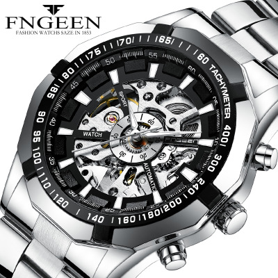 2018 New FNGEEN brand new high-end fashion steel belt automatic hollowing machinery men's watches Stainless Steel clock 1