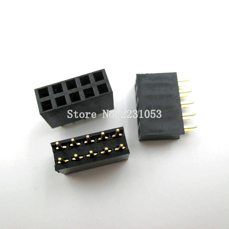 High Quality 20PCS/LOT 2x5 Pin 10P 2.54mm Double Row Female Straight Header Pitch