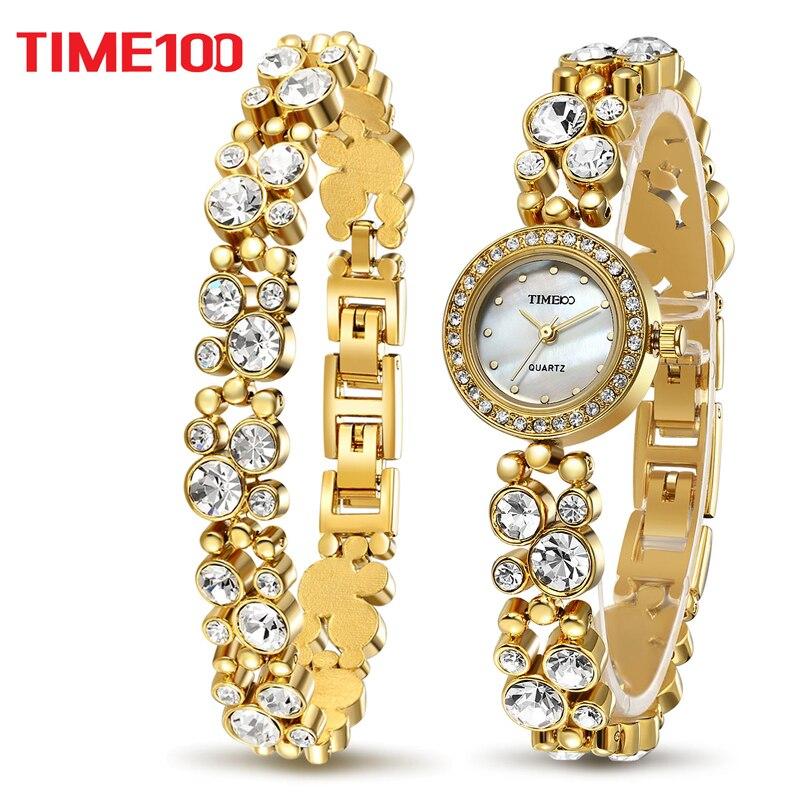 Time100 Для женщин Роскошные Часы браслет Кварцевые часы золото Diamond В виде ракушки Циферблат Дамы наручные Часы для Для женщин Relogio feminino