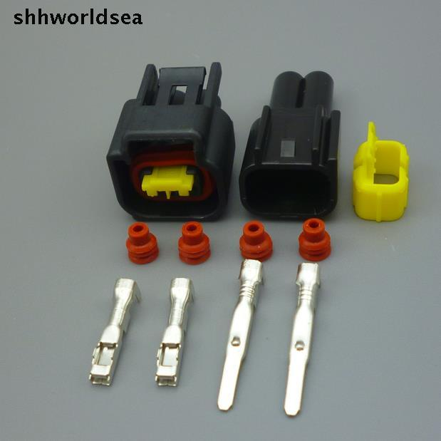 Shhworldsea 10sets 2 Pin 2.3MM Car  Ignition Coil Wire Harness Female Male Waterproof Auto Connector Plug For Ford Focus