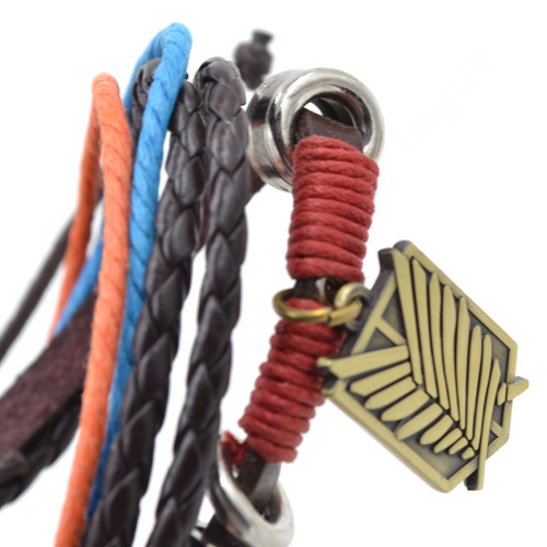 Unisex Hot Anime Fairy Tail Attack on Titan Naruto Multi Layer PU Leather Bracelet