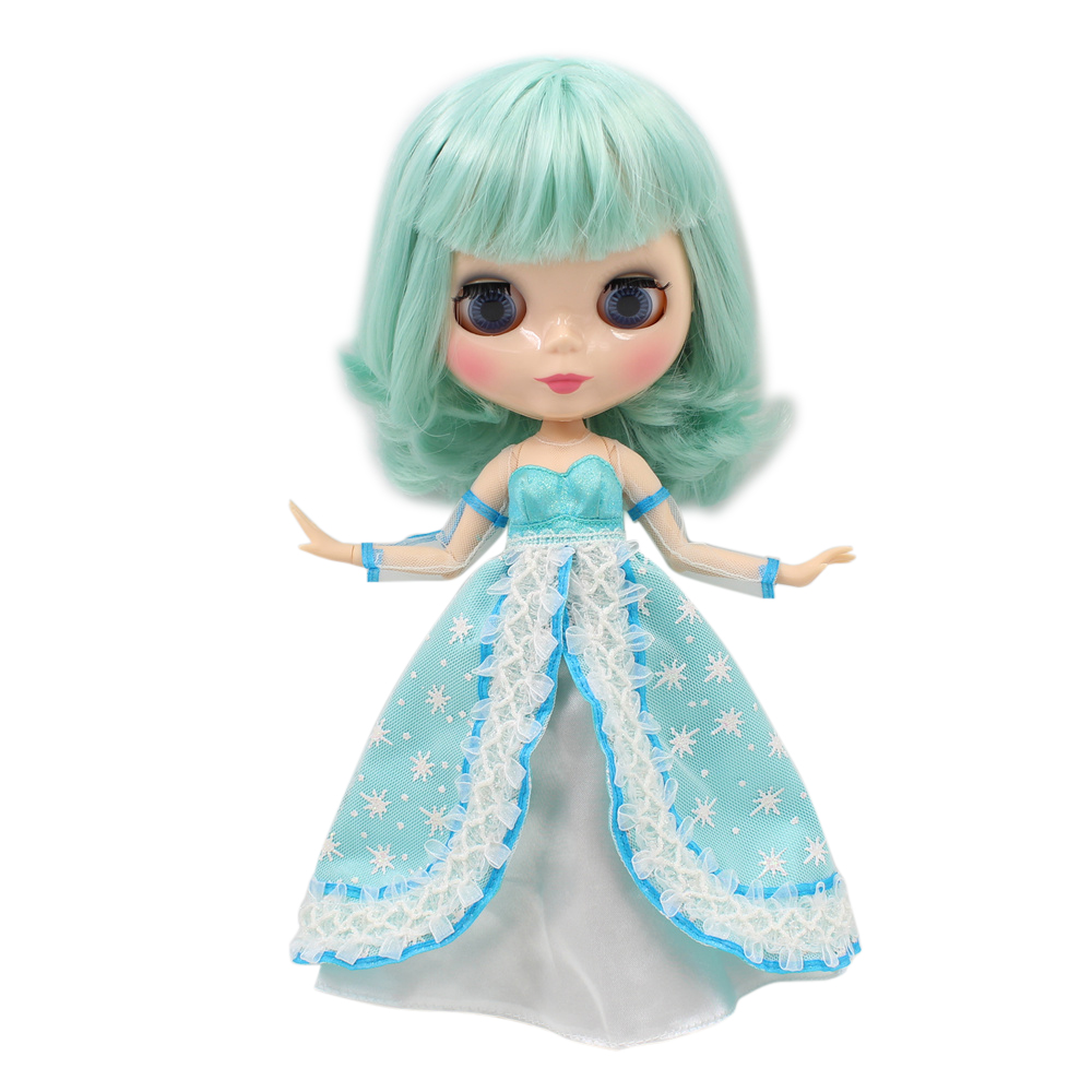 Blyth Joint Body nude 1 6 Doll Mint Green Hair With Bangs fringe Natural Skin 30cm