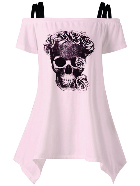 Women Casual Short Sleeeve T-shirts Skull Print T-shirts Off Shoulder Female 2017 Summer Tunic Mujer Women Tops LJ9615E 1