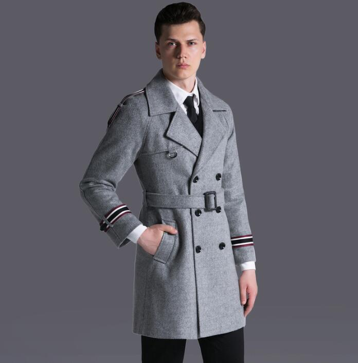 Black grey casual woolen coat men trench coats autumn