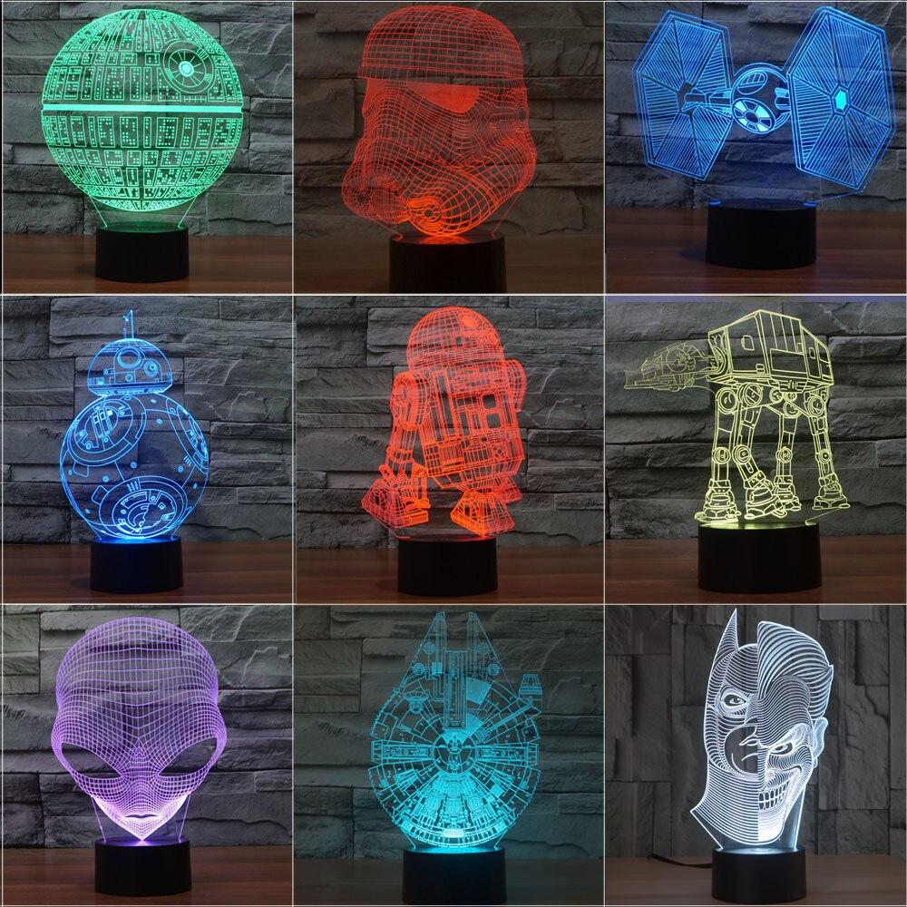 3D Star Wars Light lampada Abajur Led Death Star Table Lamp 3D Bulbing Light Alien Lava Lamp Trek Star Wars Nightlight baby Kids ynynoo star wars bb8 droid 3d bulbing light toys 2016 new 7 color changing visual illusion led lamp yoda millennium falcon toy