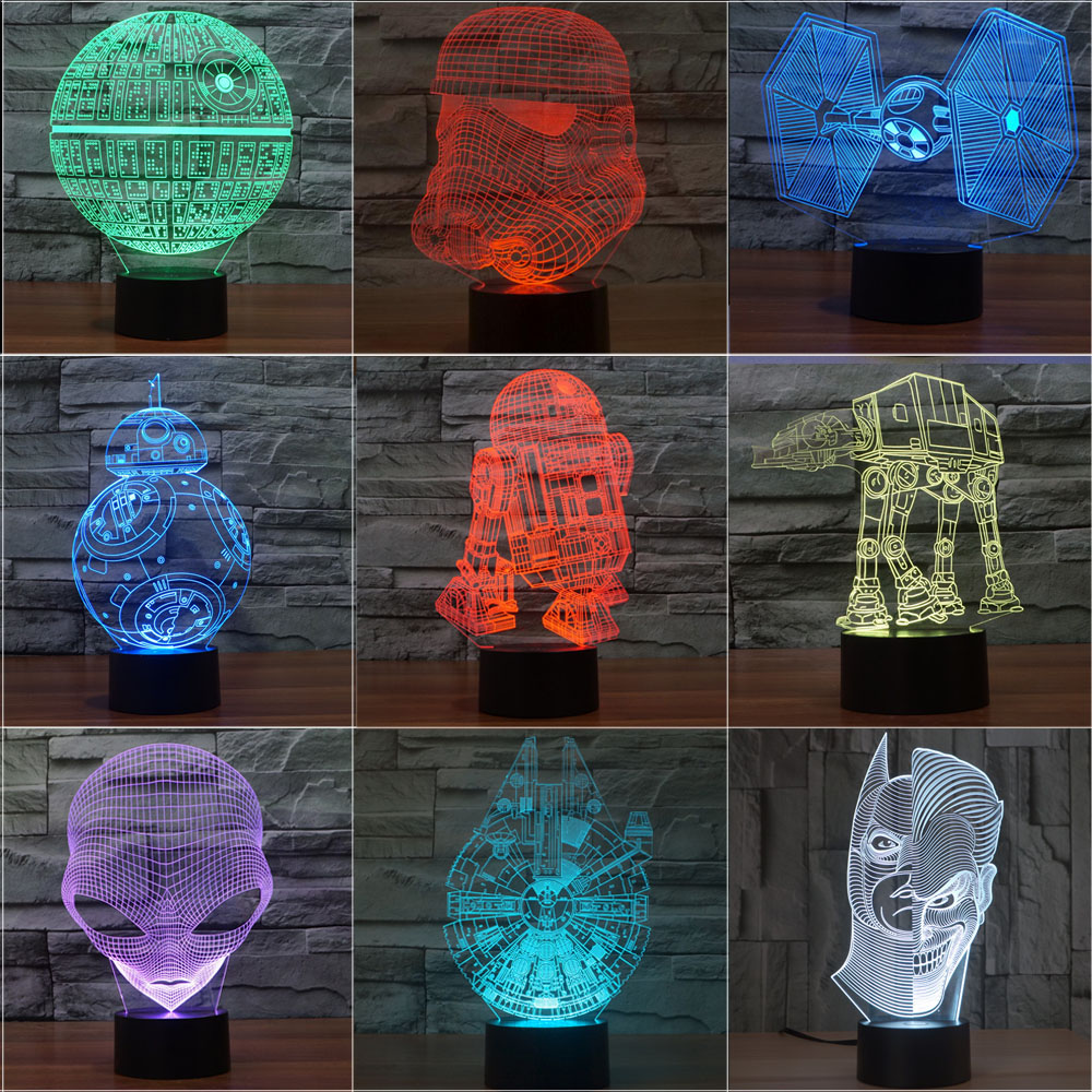 Star Wars Terks 3D Luce di Notte Lampada Morte Star Corazzata Alien Abajur Led Da Tavolo Lampada di Lava Bulbing Luci di Festa Del Bambino regali
