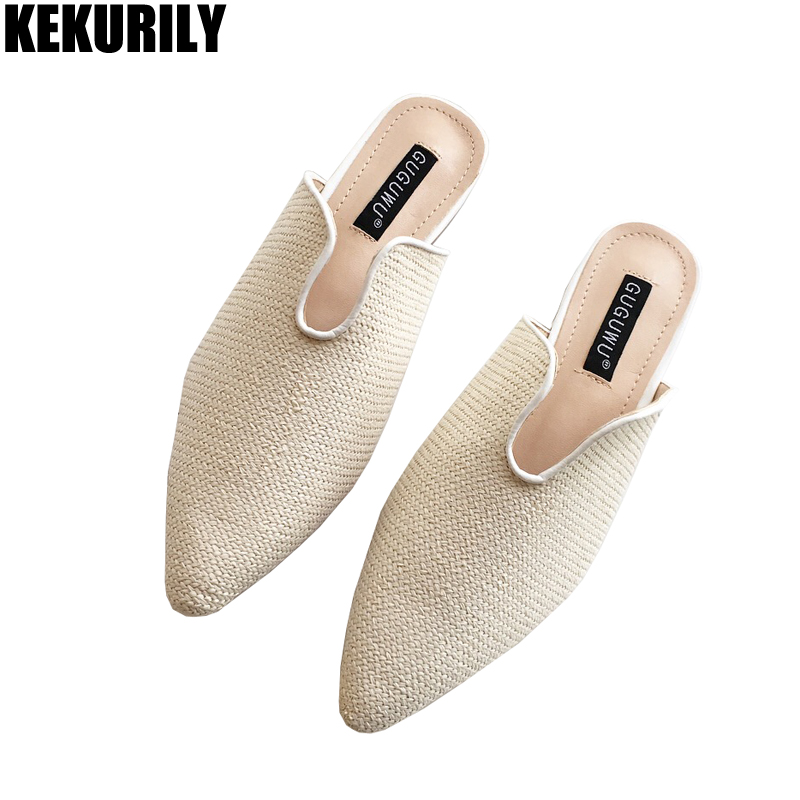 Woman Shoes Straw Weaving Mules Pointed toe Slipper Ladies Low Heels Slides Slip on Sandals Zapatos mujer apricot black khaki