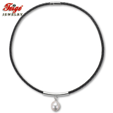 Black Leather Rope Choker Pendant Necklace for Women Party Jewelry Gifts 13-14MM White Baroque Freshwater Pearls Jewelry FEIGE vintage black baroque pearl bracelet for women freshwater pearls red crystal beads bracelets party jewelry gifts wholesale feige
