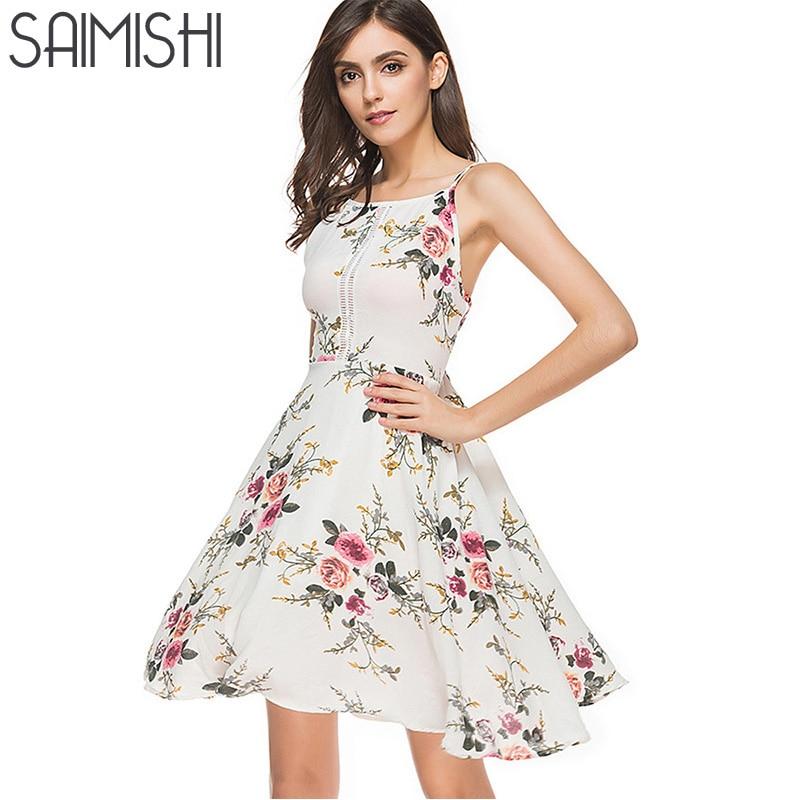 Saimishi 2018 Summer Fashion Floral Print Spaghetti Strap Dress Sleeveless Backless Cami Beach Dress Knee Length Dress