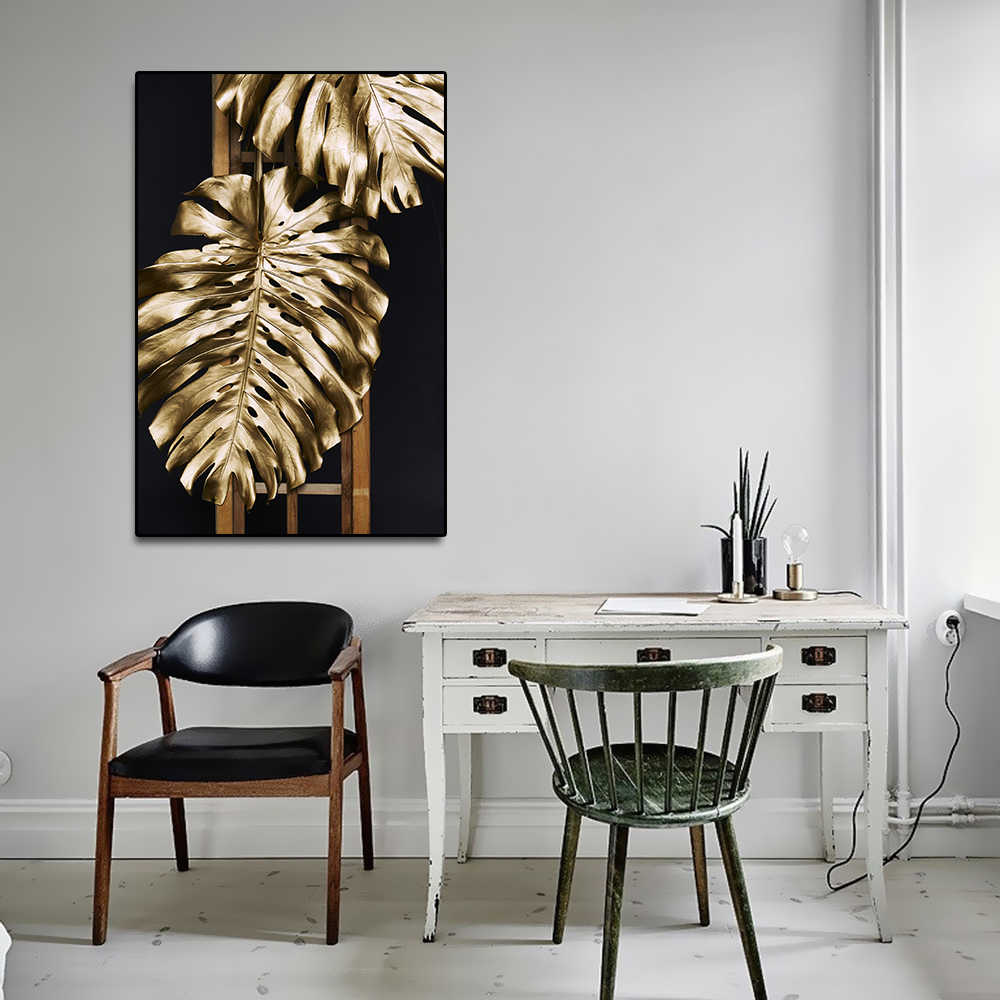 Nordic Modern Posters and Prints Canvas Wall Art Prints Gold Plant Leaf Picture for Living Room Home Decor No Frame