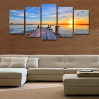 Painting 5 Pcs(no Frame)gray Sunset Landscape Hd Picture Print Painting On Canvas Wall Art Home Decor Living Room