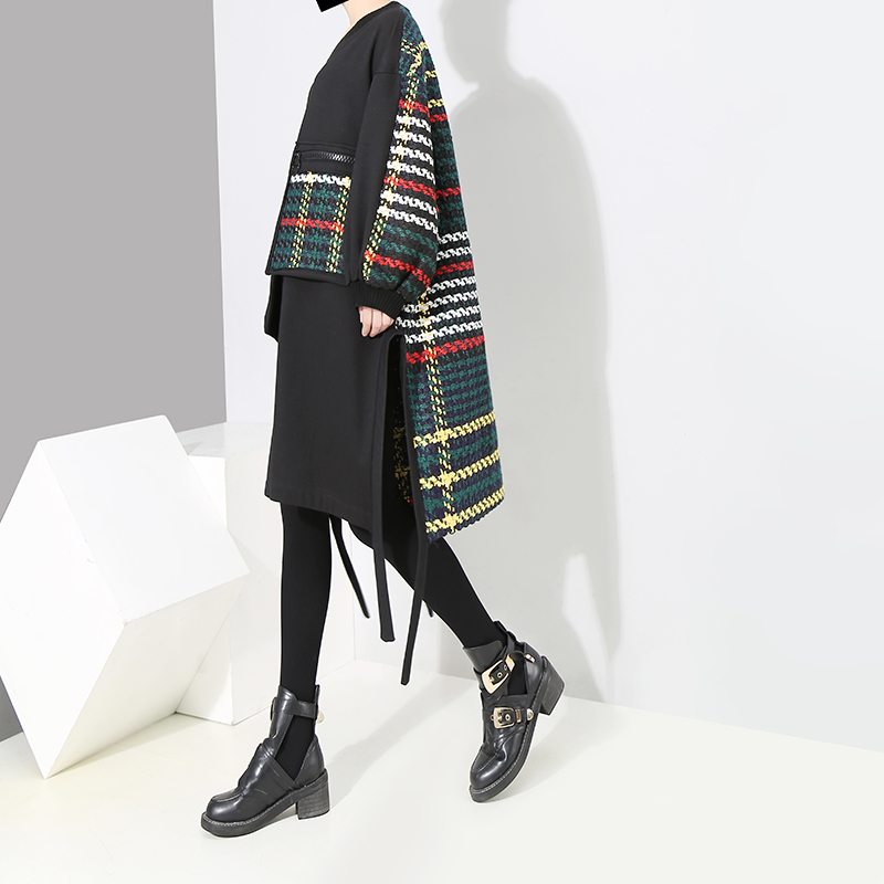 Black Manches Taille Rayé Décontracté Coréen Style Robe Femme D'hiver À Grande Poches Bandes Lâche Avec 4123 Grandes Longues 2018 Bikinis Femmes Et ID2E9H