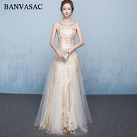 BANVASAC 2018 O Cổ Elegant Sequined A Line Long Evening Dresses Đảng Ren Thêu Mở Lại Tulle Prom Gowns