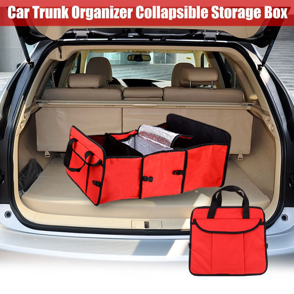 Disney Collapsible Storage Trunk Toy Box Organizer Chest: Folding Fabric Storage Box 3 Compartments Portable Car