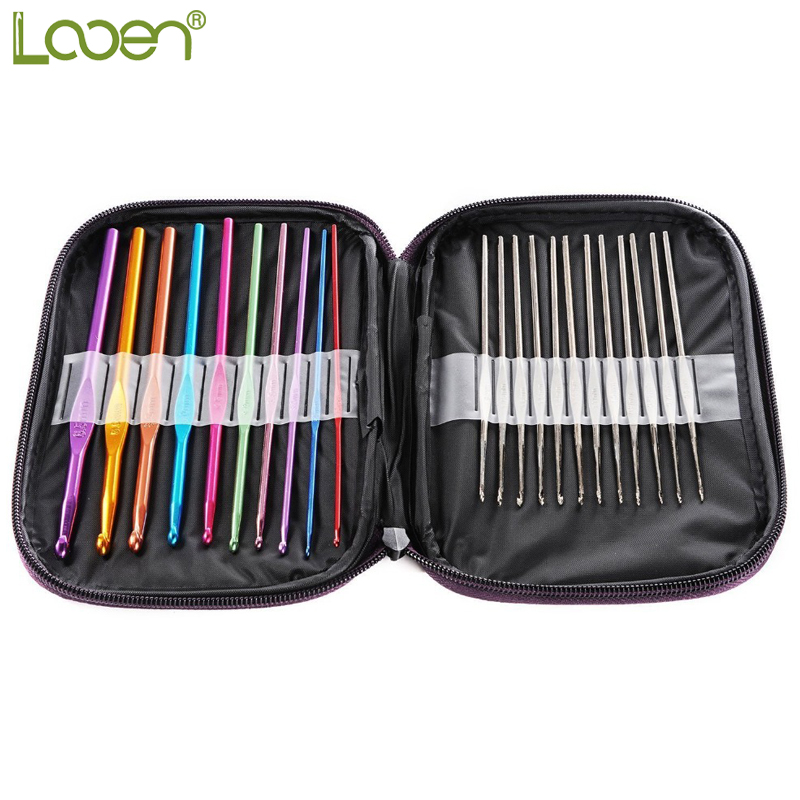 Looen Brand 10pcs Aluminum Crochet Hooks 12Pcs Silver Hooks Needles Knit Weave Stitches Knitting Craft Tools For Women Mom Gift