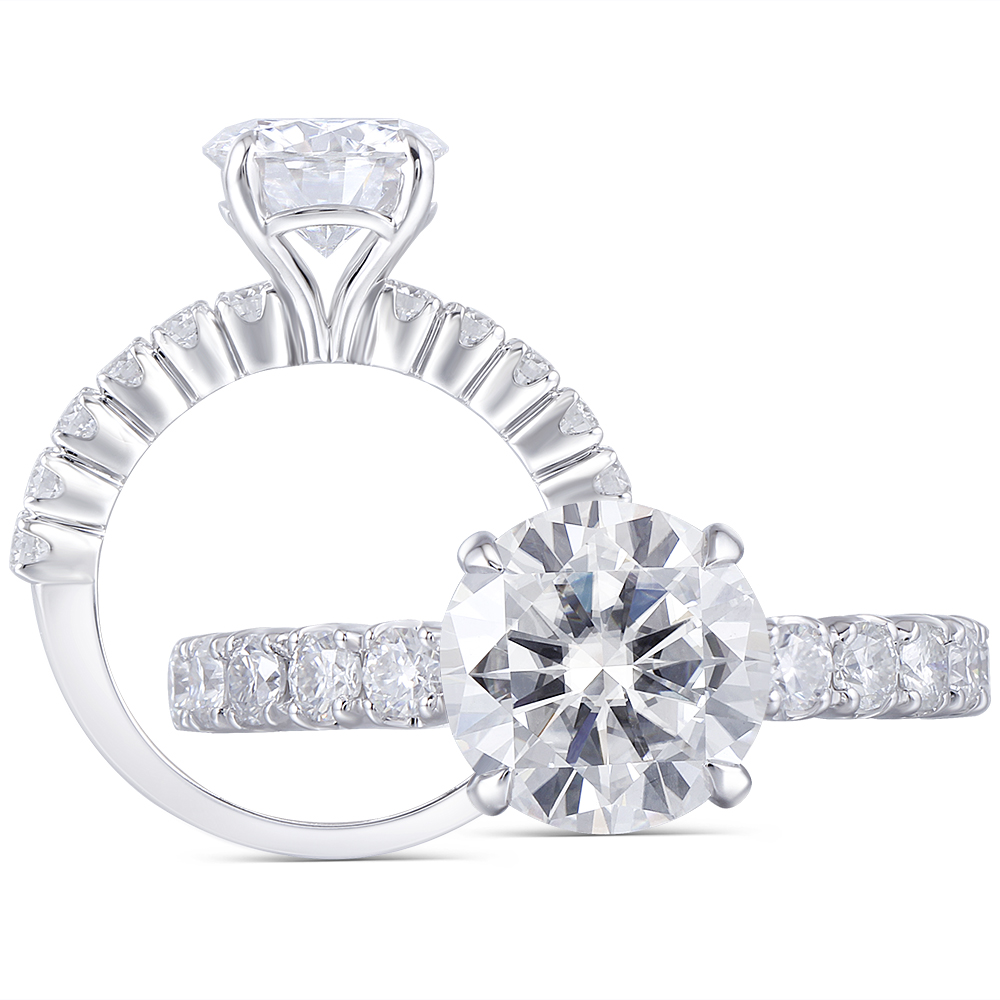 Round Solitaire CZ Engagement Ring Women/'s 14K Classic White Gold 3ct 9.5 mm