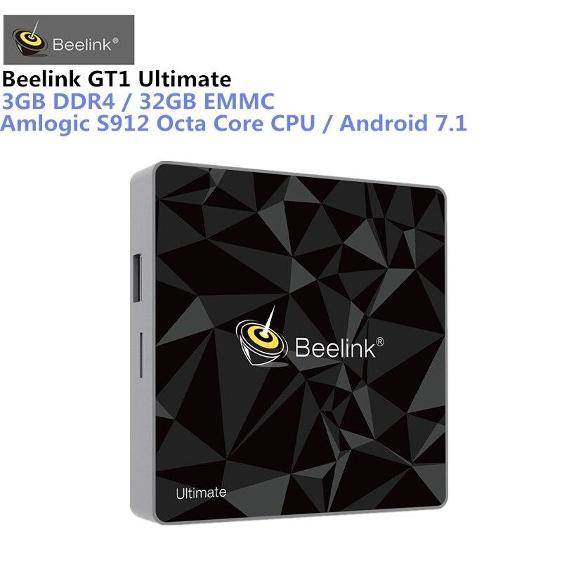 Beelink GT1 Ultime Android 7.1 TV Box Amlogic S912 Octa Core CPU 3g RAM 32g ROM Bluetooth 4.0 UHD 4 k Set Top Box