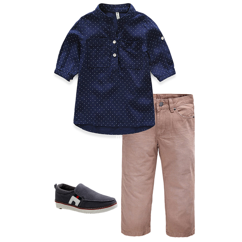 kids clothes 3-8 Yrs cotton 2 pieces clothing set for boys mid-sleeves shirt+pants kids children back to school wearing outfit