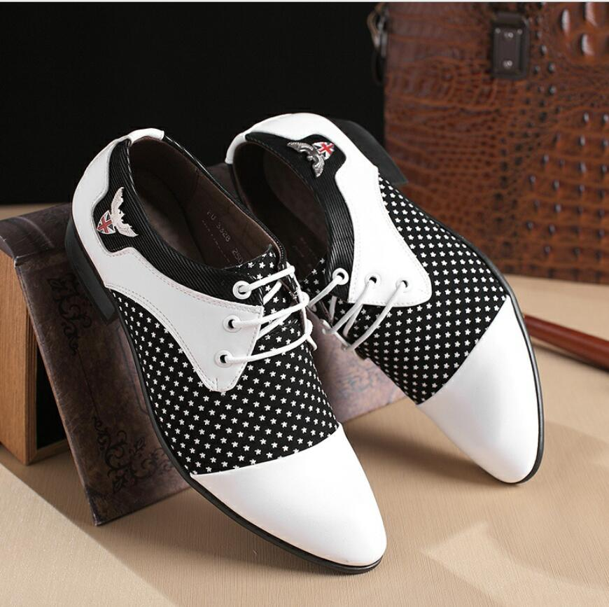 Cuir Derby Homme Splice Zapatos Robe Hombre 2018 En white Style De Mariage Black Costume Casual Hommes Chaussures Mode wqvfOgUxq