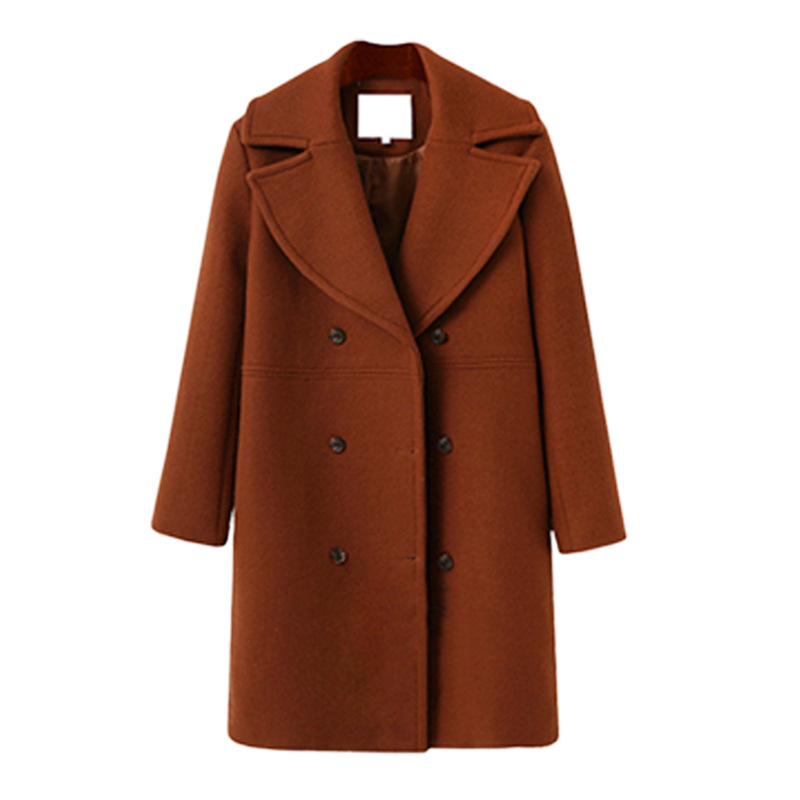 Longue Chaude Solide Manteaux Turn Breasted taille black Large Poches Double Femme Col red Style brown down Laine Manteau Beige S1Ydwqzfx