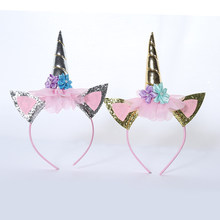 1PC New Arrival Handmade Kids Party Gold Unicorn Hat Headband Horn Gold Glittery Beautiful Hat Accessories Cosplay Queen Princes(China)