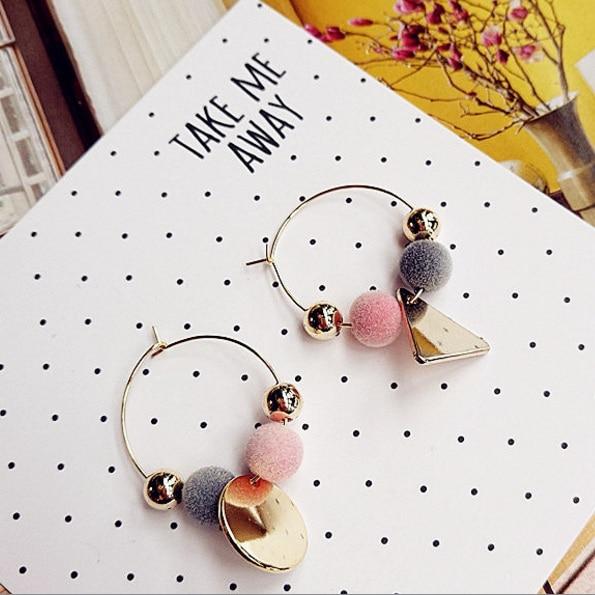 2016 Korean Asymmetric Style Geometric Pendant Earrings Colorful Pom Pom For Women Ear Circle Pendientes Brincos
