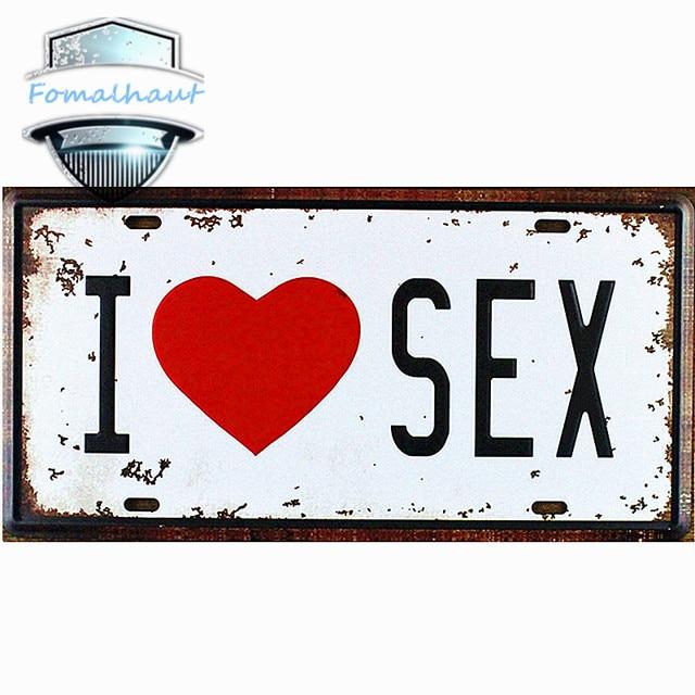 Vintage Car Plate  I LOVE SEX  Wall Art Craft Vintage Metal Signs for Bar  sc 1 st  AliExpress.com & Vintage Car Plate
