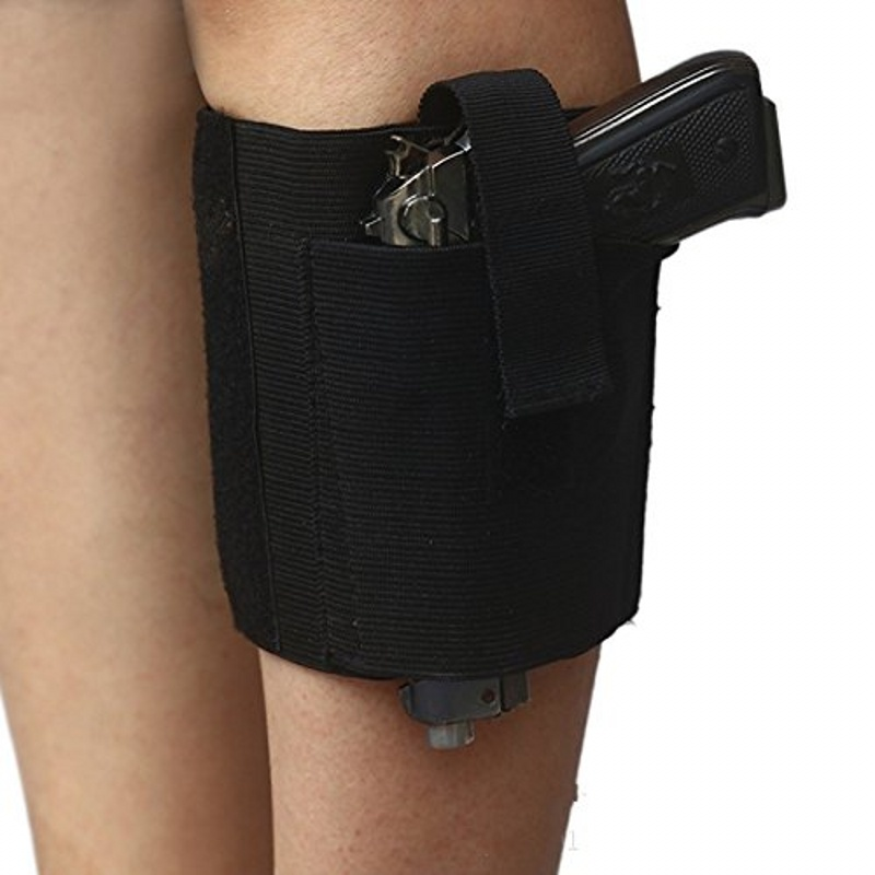 CQC Outdoor Tactical Airsoft Universal Concealed Ankle Leg Gun Holster Strap Belt Black Pistol Thigh Holster Pouch Hunting Bag image