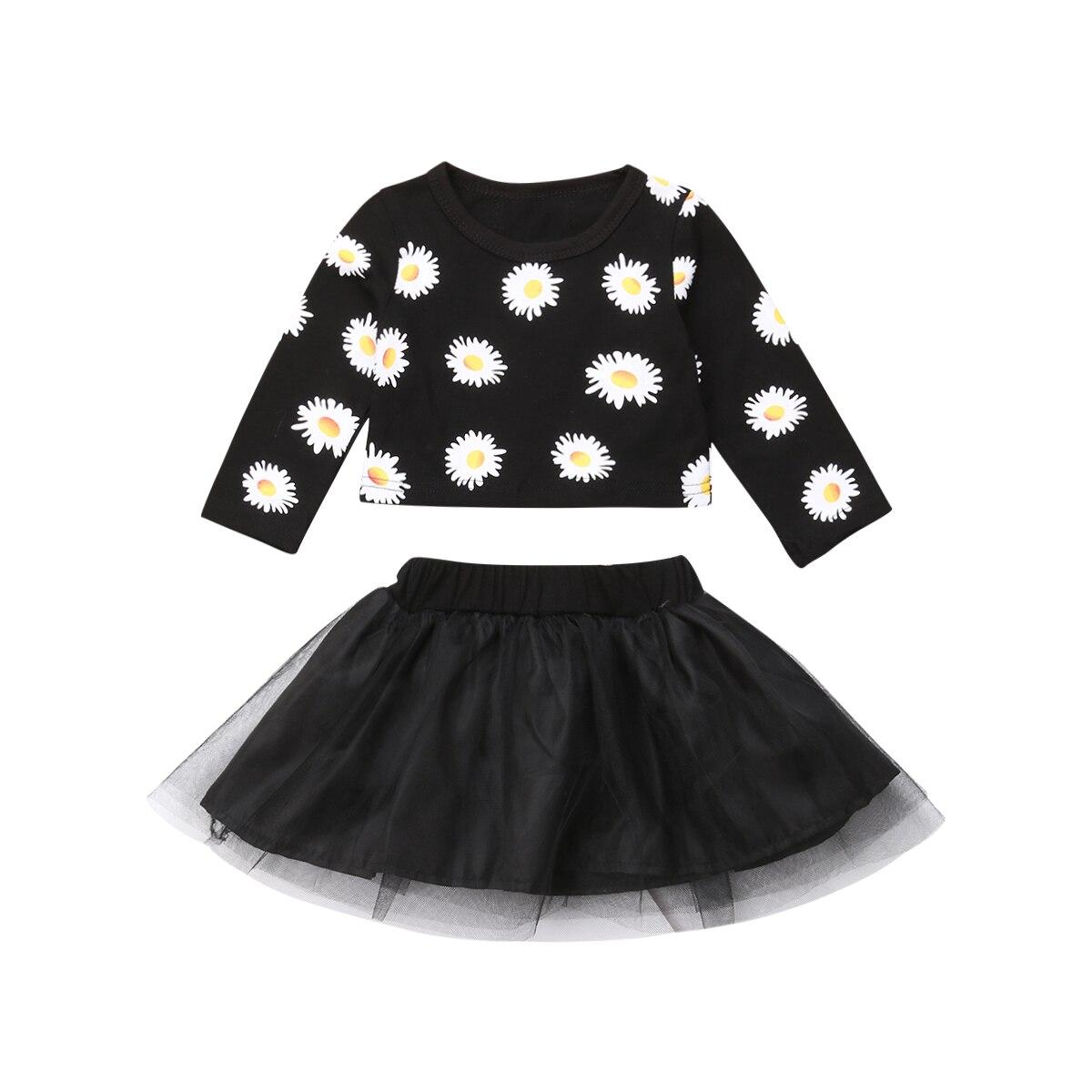 0-24 Mt Nette Neugeborene Baby Mädchen Floral Langarm Crop Tops Tutu Rock 2 Stücke Outfits Prinzessin Baby Kleidung Set