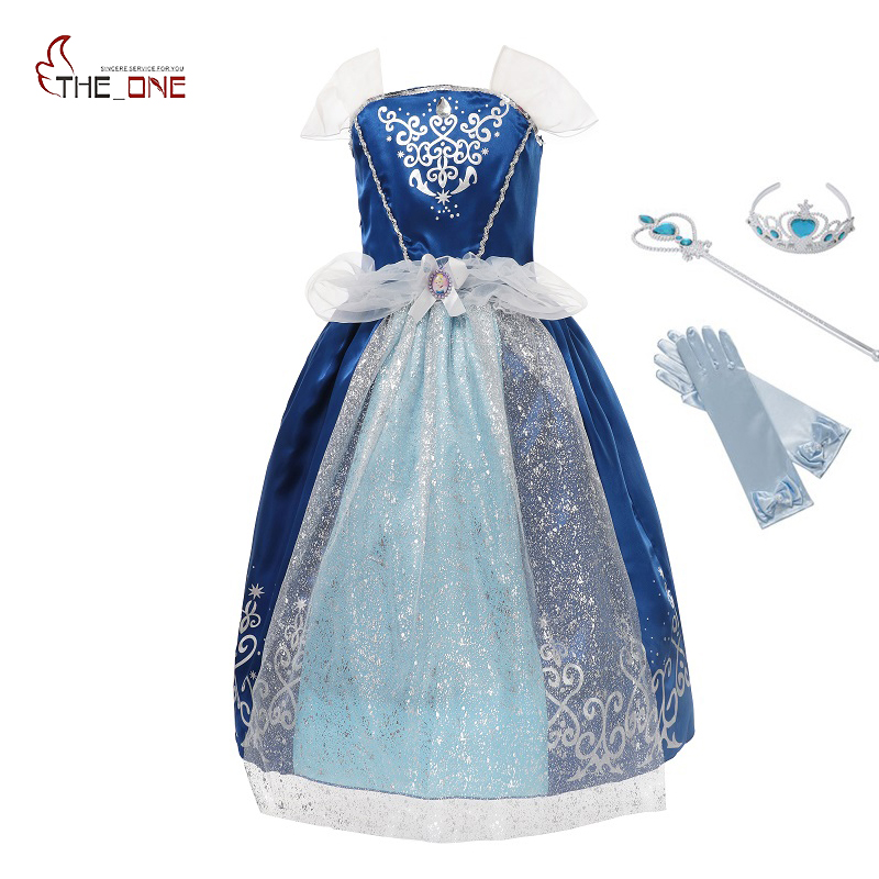 MUABABY Girl Cinderella Dress Children Summer Princess Cosplay Costume Kid Snow White Belle Rapunzel Sofia Halloween Party Dress muababy children braid girls elsa anna rapunzel sofia cinderella accessories kids party cosplay hairpiece wig gloves 2 pcs sets
