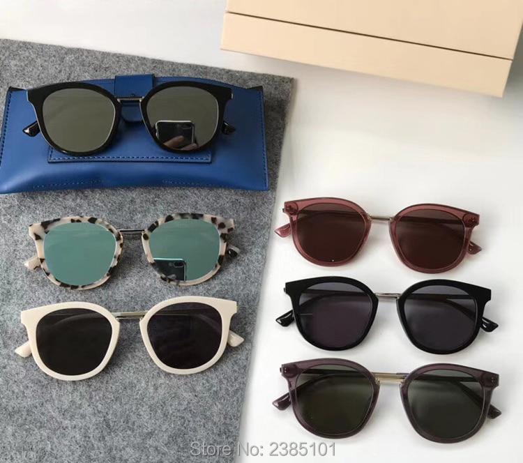2018 doux Vintage classique rond acétate lunettes de soleil femmes V logo soleil verre hommes oculos DIM lunettes de soleil avec boîte en cuir bleu