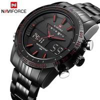 2017 Naviforceผู้ชายนาฬิกาหรูยี่ห้อทหารกีฬาดิจิตอลLEDนาฬิกา