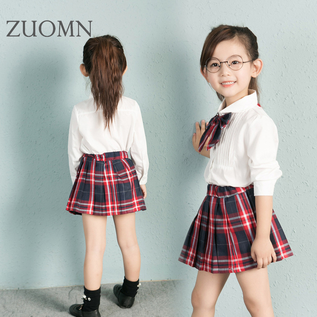 New Girls White Shirt +Plaid Bowknot+Plaid Skirt School Uniform Two-piece Children Clothing Kids Girls 2Pcs Set YL293
