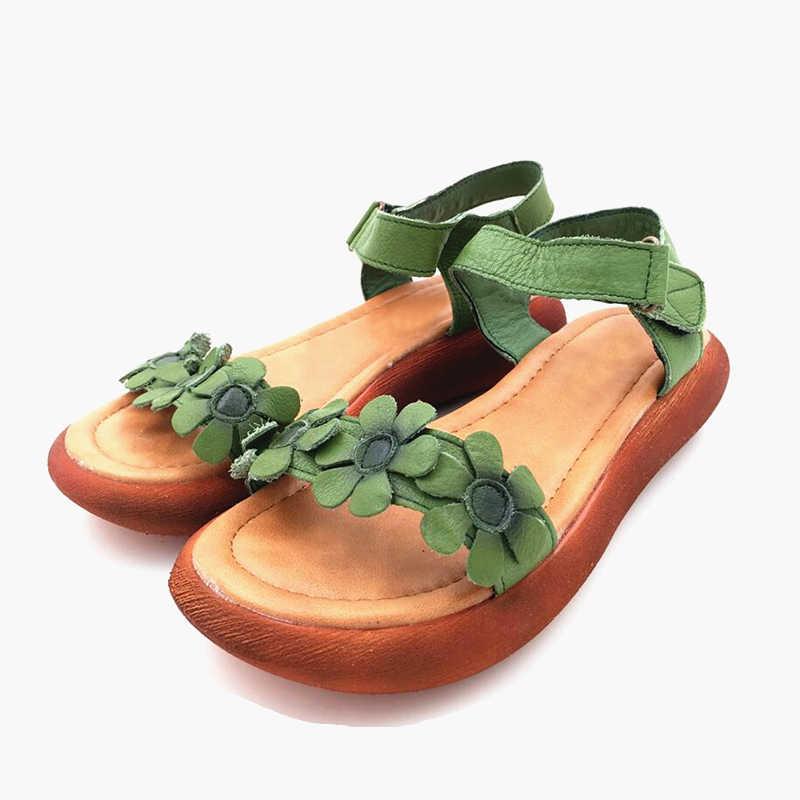 TIMETANG Kadın sandalet açık toe Hakiki deri el yapımı yaz ayakkabı sandalet ulusal tarzı retro sandalet