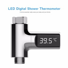 LED عرض مئوية مقياس الحرارة المياه رصد الكهرباء دش ميزان الحرارة 360 درجة دوران تدفق الذاتي توليد