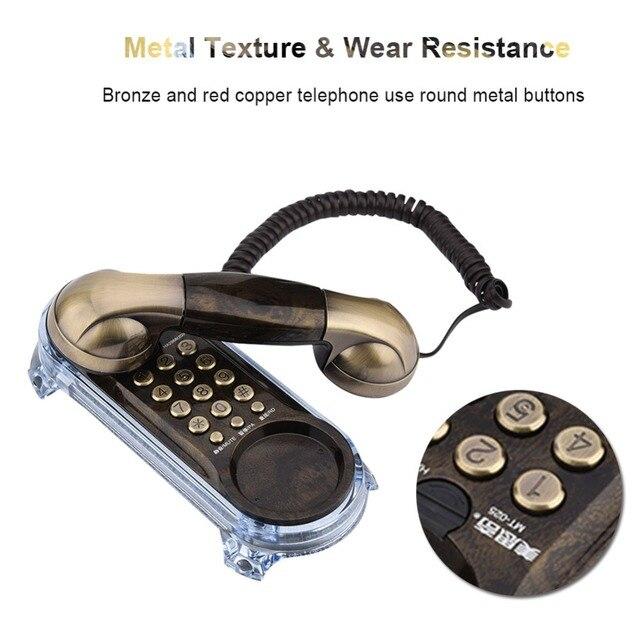 Antyczne Retro do montażu na ścianie telefon przewodowy telefon stacjonarny moda telefon dla domu Hotel