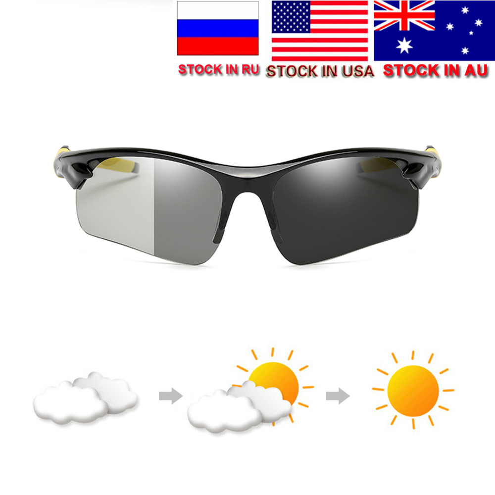 Dropshipping Photochromic Polarized Cycling Glasses Bike Eyewear Sports Sunglasses MTB Bicycle Goggles Riding Fishing Cool Frame