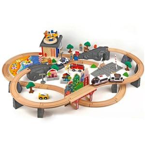 Image 2 - חשמלי רכבת מסלול סט מגנטי חינוכיים חריץ חיוניות רכבת עץ רכבת מסלול תחנת צעצוע מתנות לילדים
