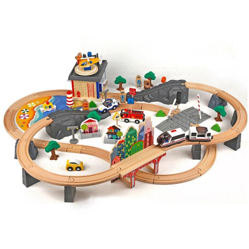 Conjunto de trilho de trem elétrico magnético educacional slot brio ferroviária de madeira train track station brinquedo presentes para crianças