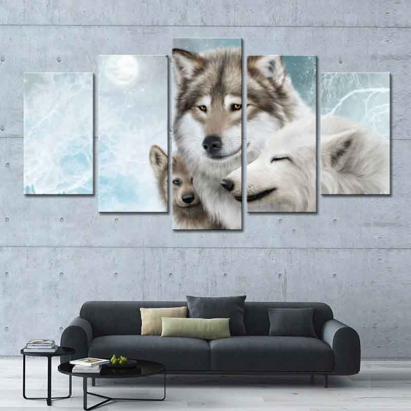 Aliexpress Buy 5 Pcs Set Winter Wolf Animal Canvas Print Painting Modern White Wall Art Picture Modular For Home Decor Giclee From Reliable