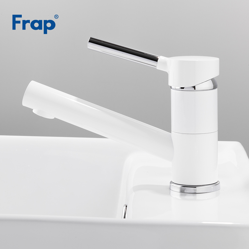 Frap New Basin Faucet White Spray Paint Water Tap Basin Bathroom Deck Mounted Wash Sink Single