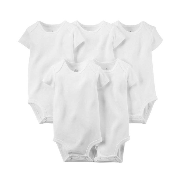 5pcs/set Pure White Cotton Unisex Neutral Short Sleeve Baby Body Clothes Infant Newborn Wear Children Kid Baby Girl Boy Bodysuit