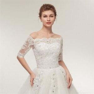 Image 4 - Женское свадебное платье со шлейфом Fansmile, винтажное кружевное платье из фатина с длинным рукавом, модель 2020