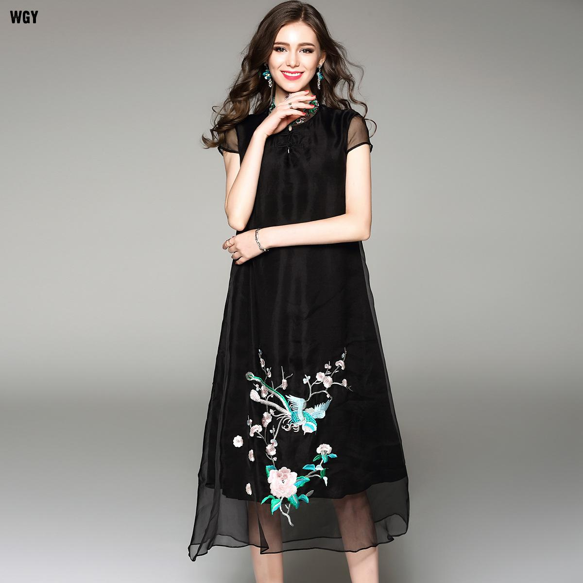 Black dress in summer - Chinese Style High Quality Abaya 2017 Summer Silk Vintage Dress Solid Flower Embroidery Boho Floral Dress In Blue Black