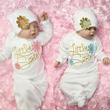 Одежда для сна для новорожденных девочек, халаты, комбинезон шапка с длинными рукавами, комплект домашней одежды
