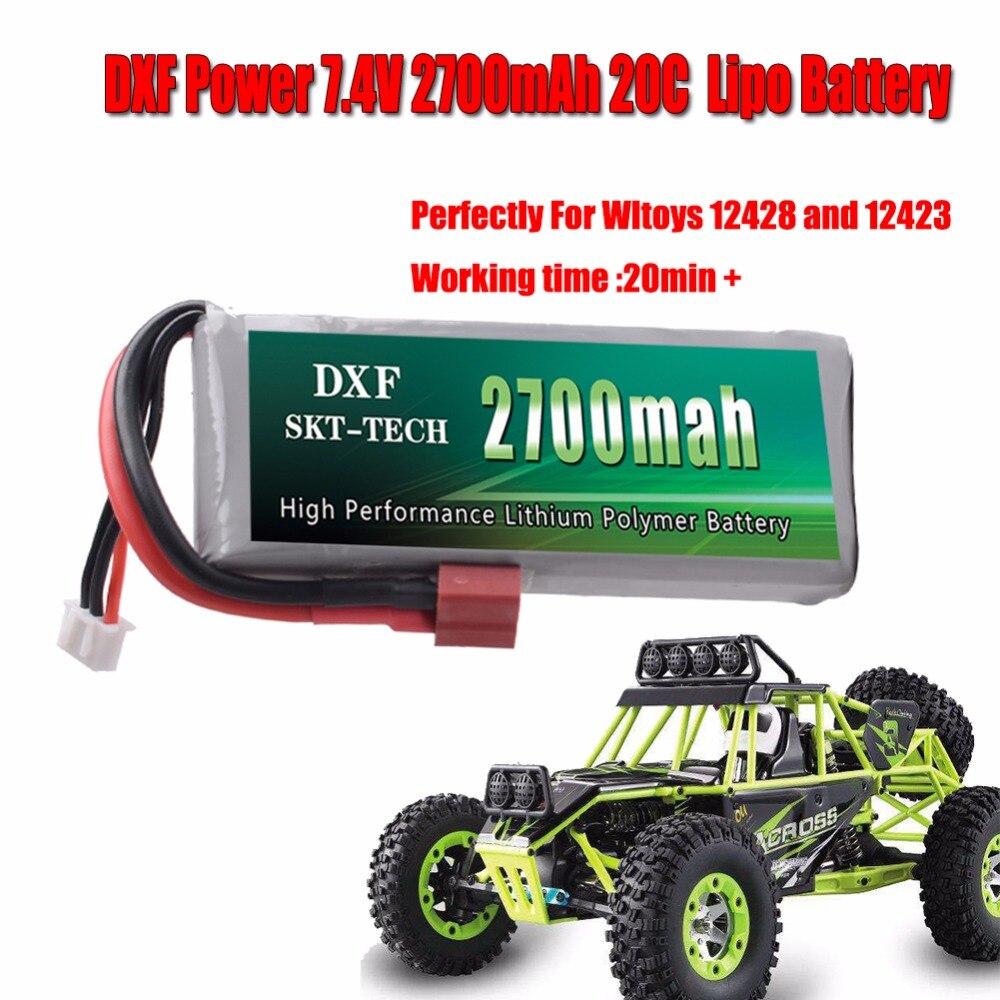 DXF di Potenza Della Batteria RC auto Rc Batteria Lipo 2 s 7.4 v 2700 mah 20C Max 40C per Wltoys 12428 12423 1:12 RC Auto Pezzi di Ricambio