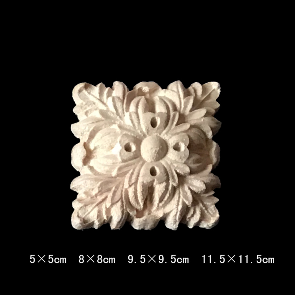 10PCS Antique Decorative Wood Appliques for Furniture Cabinet Door Natural  Wood Moldings Decals Flower Wood Carving Figurines-in Figurines &  Miniatures from ... - 10PCS Antique Decorative Wood Appliques For Furniture Cabinet Door