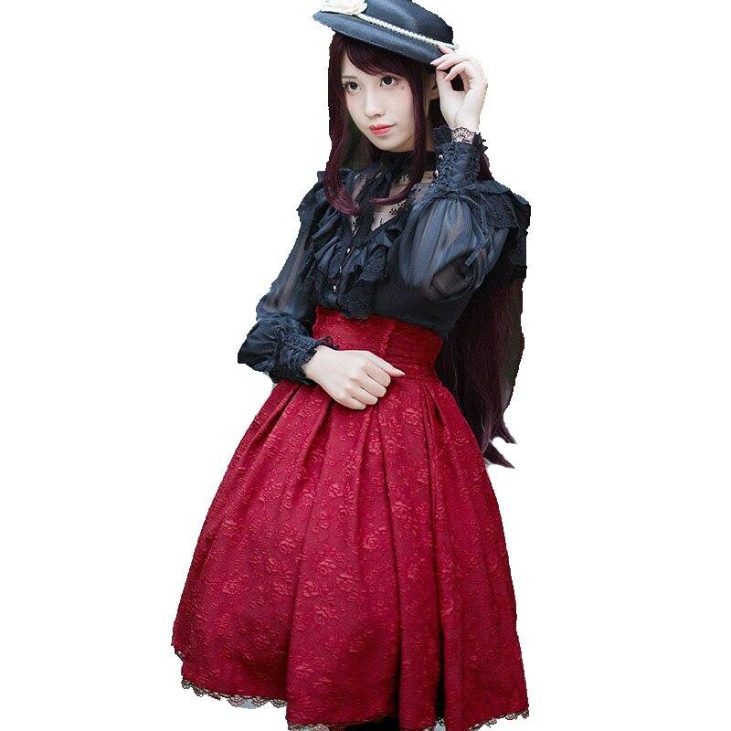 Vintage gothique taille haute coton Jacquard jupe victorienne Costume femmes Lolita Midi bande taille froncée à lacets pour dame filles